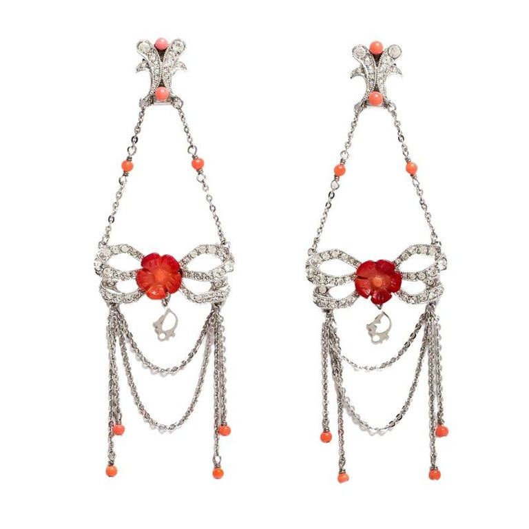 Dior Silver Tone/Red Crystal Embellished Butterfly Drop Earrings
