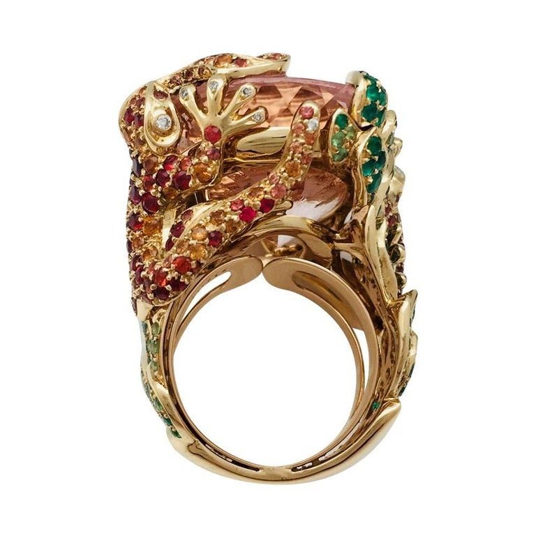 Contemporary Dior Cocktail Ring set with a huge morganite. For Sale