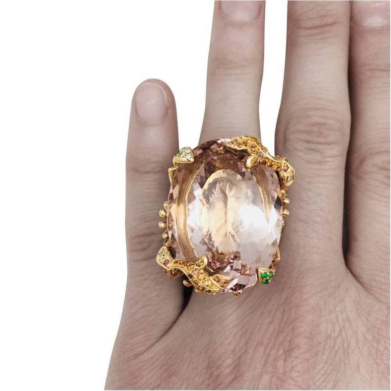 Dior Cocktail Ring set with a huge morganite. For Sale 2