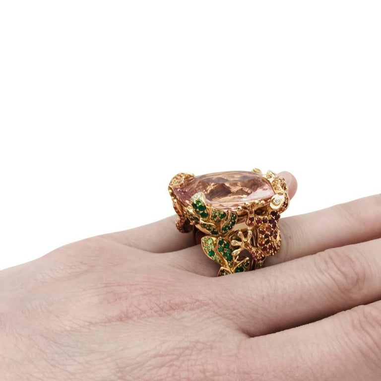 Dior Cocktail Ring set with a huge morganite. For Sale 3