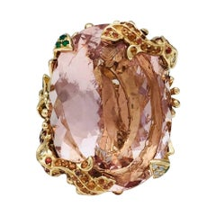Dior Cocktail Ring set with a huge morganite.