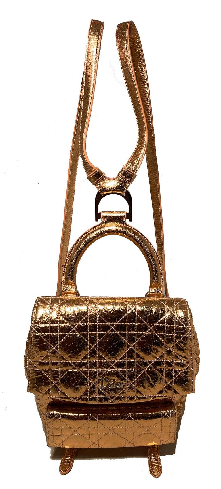 Brown Dior Stardust Metallic Rose Gold Leather Backpack For Sale