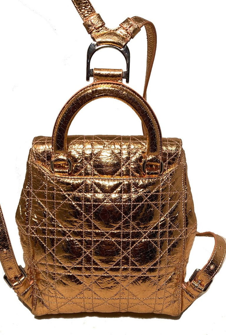 Dior Stardust Metallic Rose Gold Leather Backpack In Excellent Condition For Sale In Philadelphia, PA