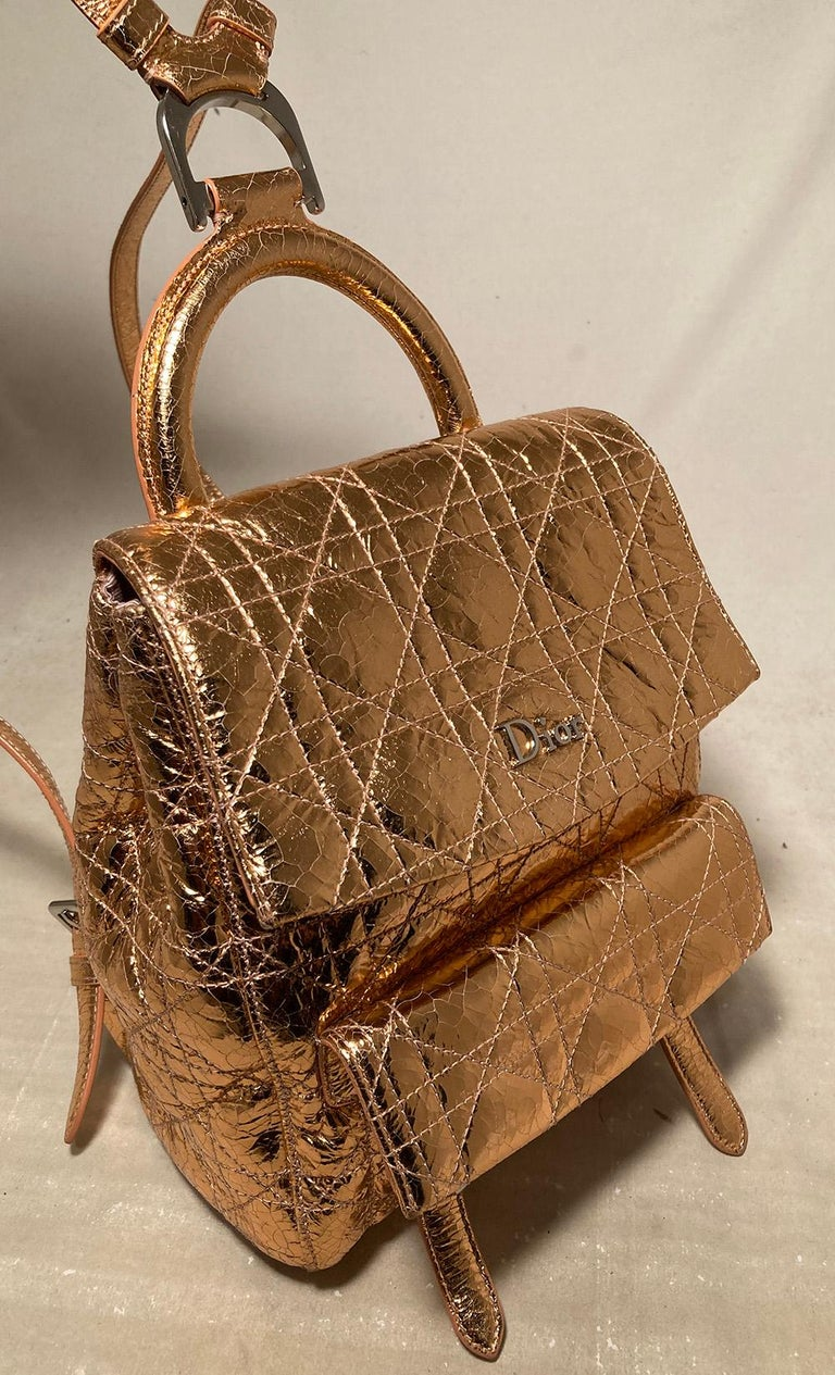 Dior Stardust Metallic Rose Gold Leather Backpack For Sale 3