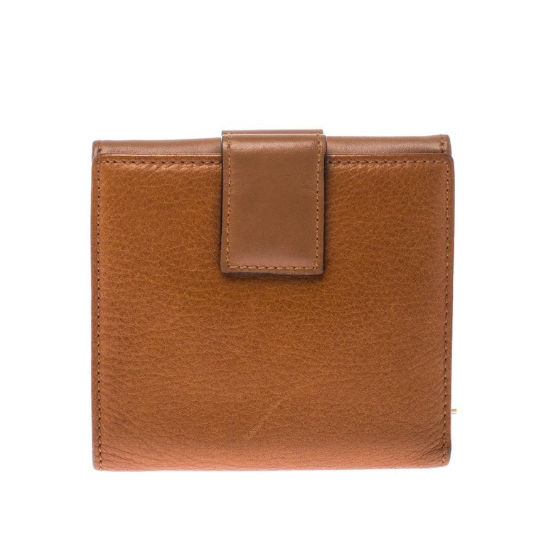 Dior Tan Leather Diorling Compact Wallet For Sale 6