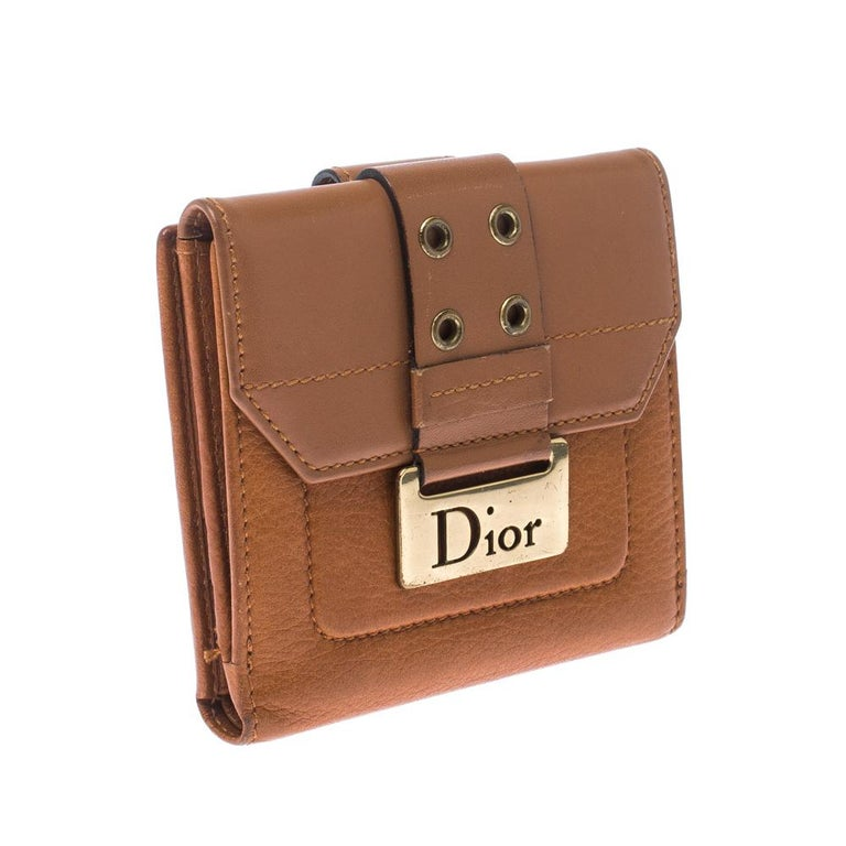 Dior Tan Leather Diorling Compact Wallet For Sale 7