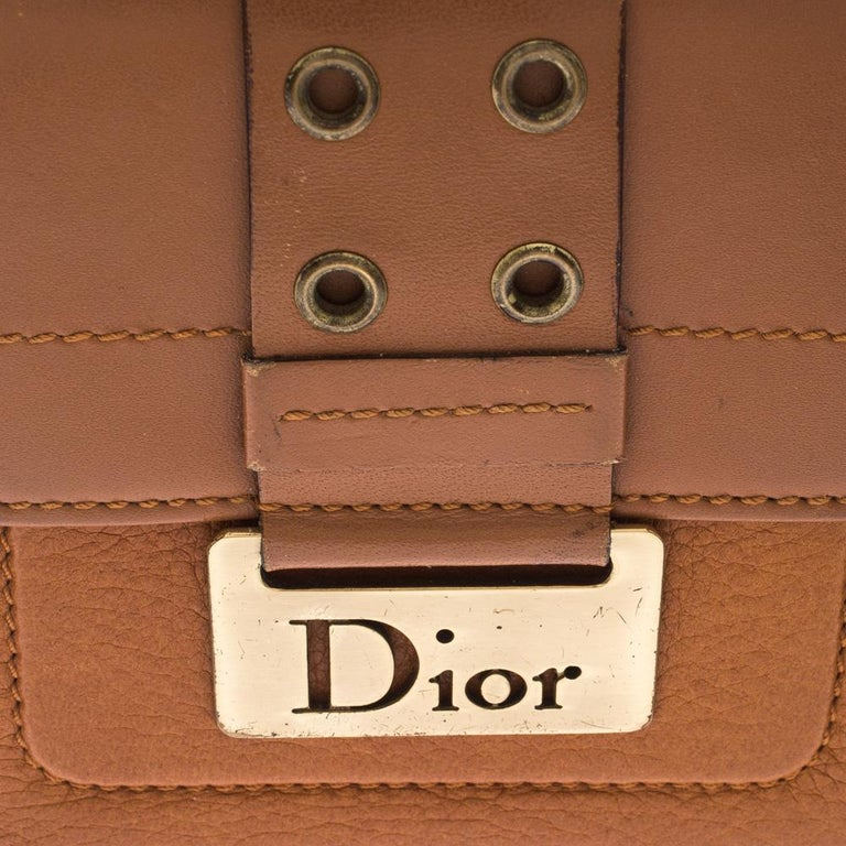 Dior Tan Leather Diorling Compact Wallet For Sale 8