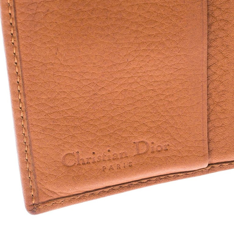 Dior Tan Leather Diorling Compact Wallet For Sale 2