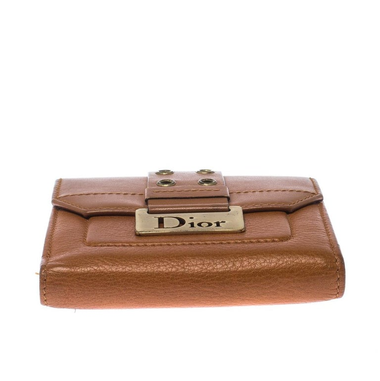 Dior Tan Leather Diorling Compact Wallet For Sale 3