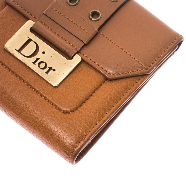 Dior Tan Leather Diorling Compact Wallet For Sale 4
