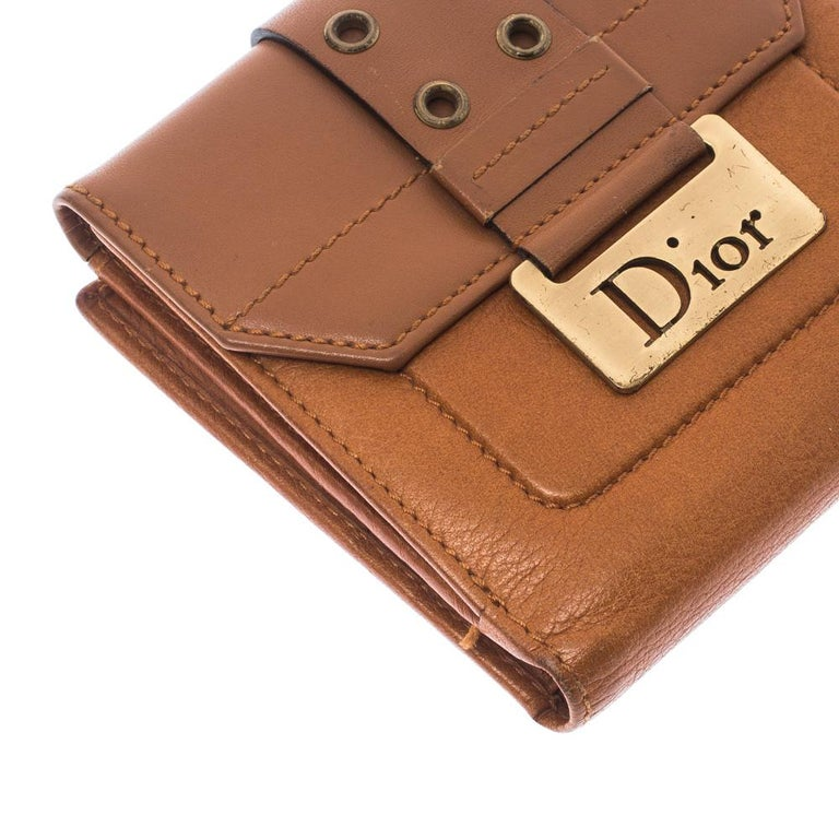 Dior Tan Leather Diorling Compact Wallet For Sale 5