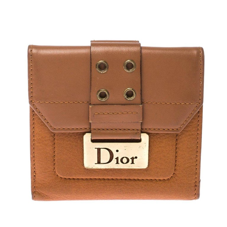 Dior Tan Leather Diorling Compact Wallet For Sale