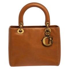 Dior Tan Leather Medium Lady Dior Tote