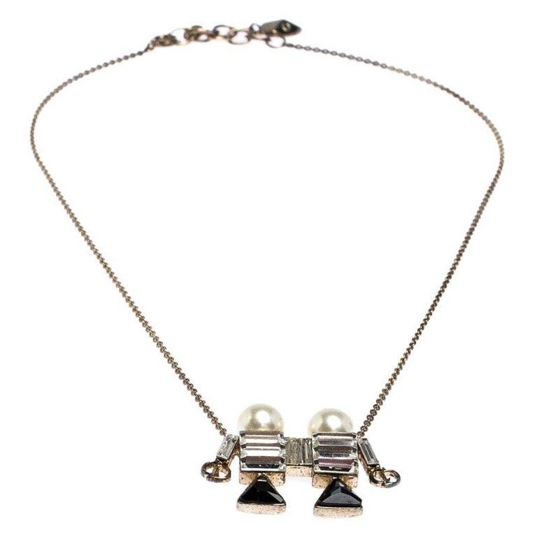 Contemporary Dior Tell Me Dior Gemini Faux Pear Gold Tone Pendant Necklace For Sale