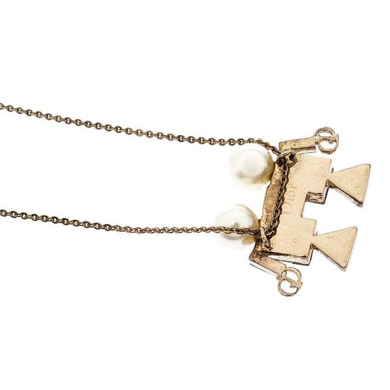 Women's Dior Tell Me Dior Gemini Faux Pear Gold Tone Pendant Necklace For Sale