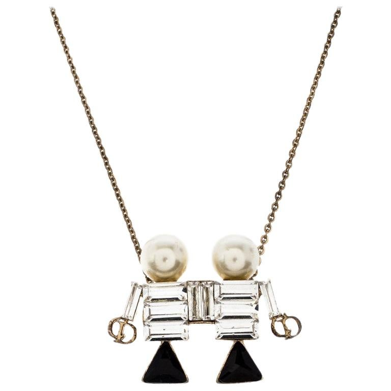 Dior Tell Me Dior Gemini Faux Pear Gold Tone Pendant Necklace For Sale