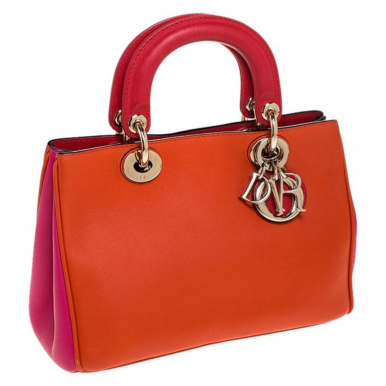 Women's Dior Tri Color Leather Mini Diorissimo Tote For Sale