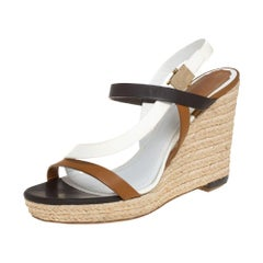 Dior Tri Color Leather Wedge Ankle Strap Espadrille Sandals Size 39