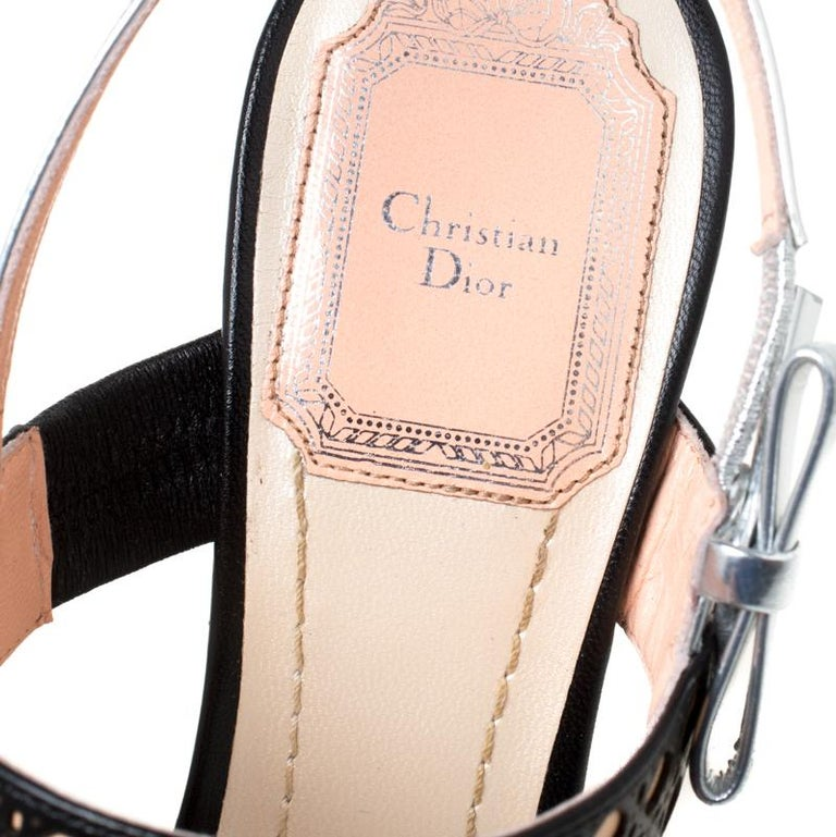 Dior Tricolor Cannage Leather Wedge Heel Open Toe Sandals Size 35.5 For Sale 2