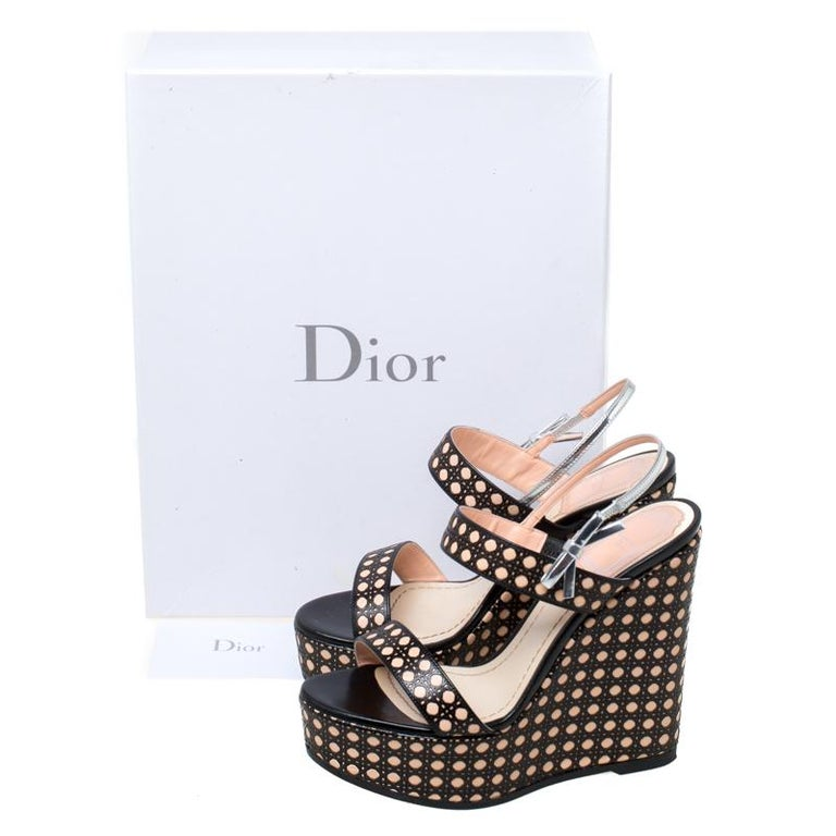 Dior Tricolor Cannage Leather Wedge Heel Open Toe Sandals Size 35.5 For Sale 4