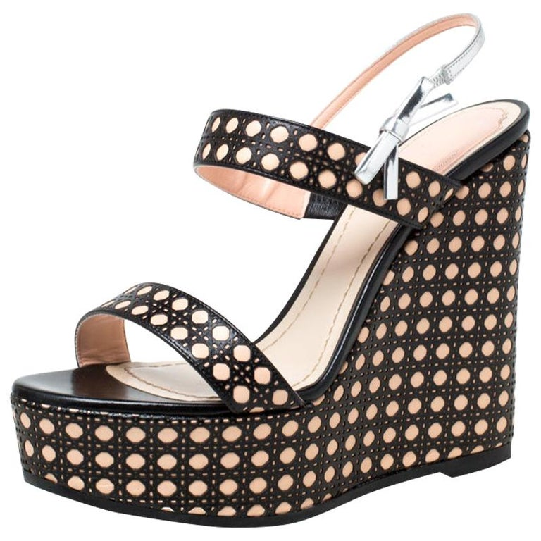 Dior Tricolor Cannage Leather Wedge Heel Open Toe Sandals Size 35.5 For Sale