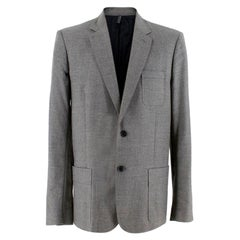 Dior Two Button Grey Tailored Suit Jacket - Size L EU 52