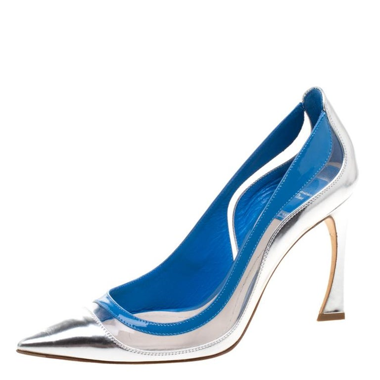 c171acc1038 Dior Two Tone Patent Leather and PVC Pointed Toe Pumps Size 37.5 For Sale