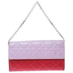 Dior Two Tone Pink Cannage Leather Lady Dior Rendez-Vous Wallet
