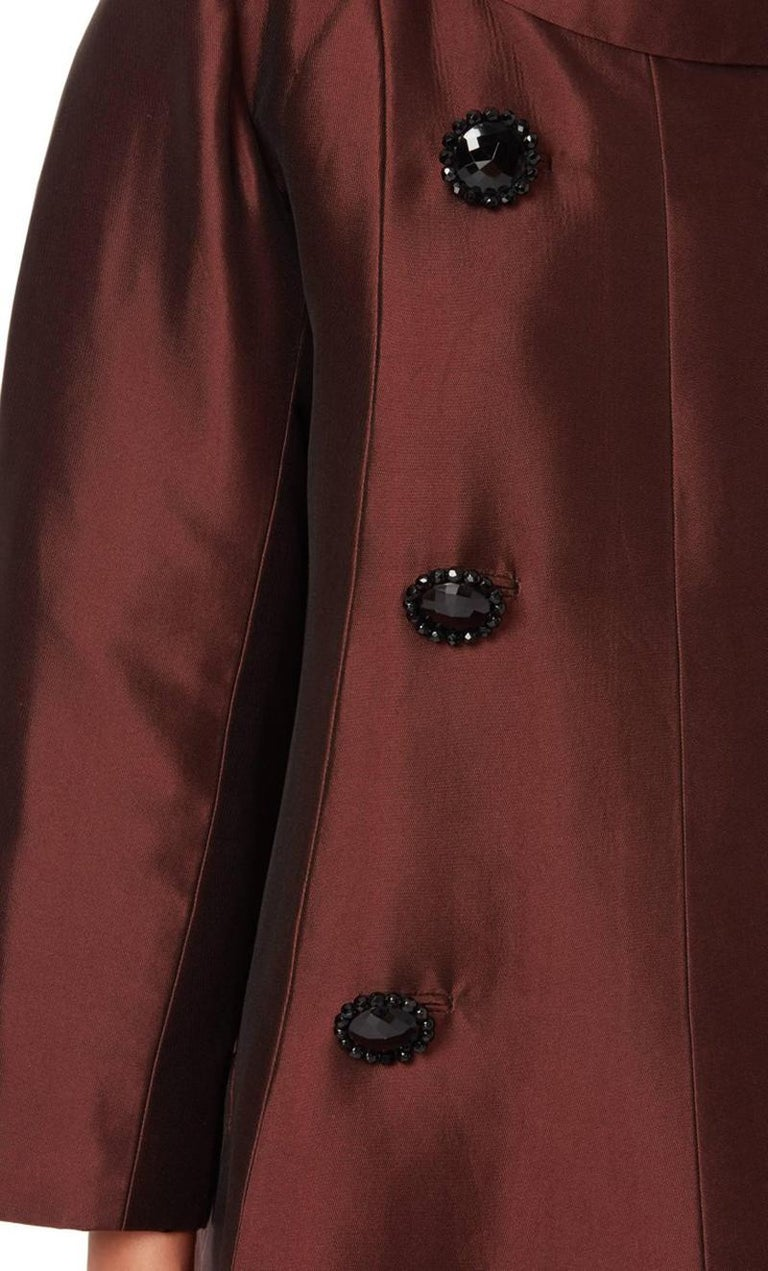 Brown Dior Unlabelled Haute couture, evening silkbrowncoat, 1950 For Sale