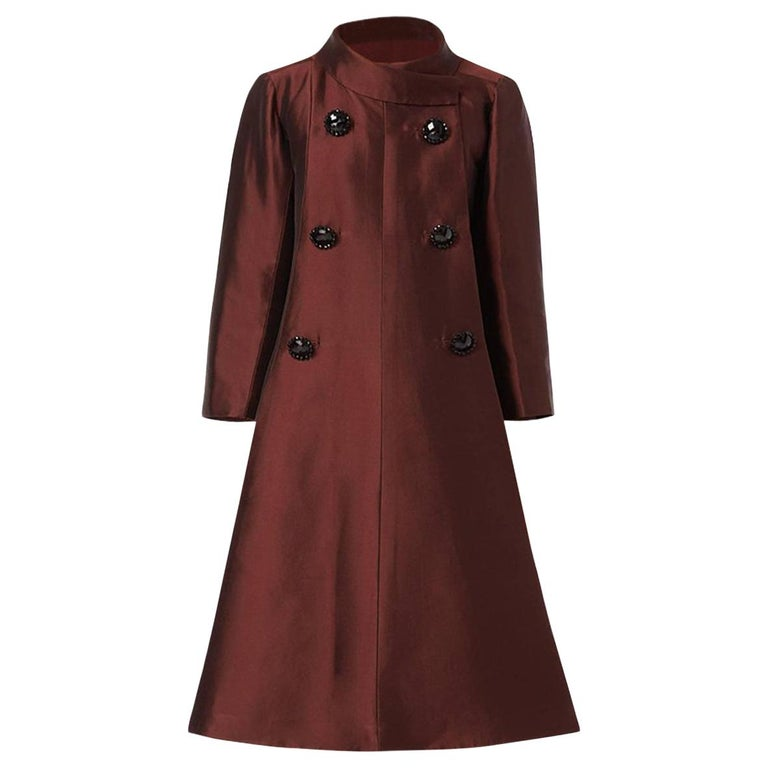 Dior Unlabelled Haute couture, evening silkbrowncoat, 1950 For Sale