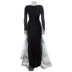 Dior Vintage Black Bead & Tulle Embellished White Cuff Detail Scoop Back Gown M