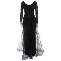 Dior Vintage Black Embellished Tulle Contrast Cuff Detail Scoop Back Gown M