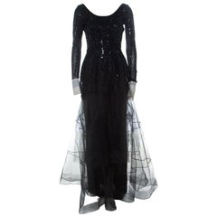 Dior Vintage Black Embellished Tulle Contrast Cuff Detail Scoop Back Gown M