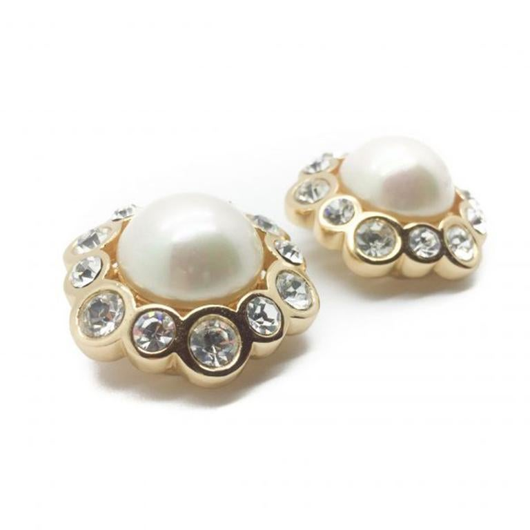 Dior Vintage Earrings Pearl Crystal Rhinestones 1990s In Excellent Condition For Sale In Wilmslow, GB