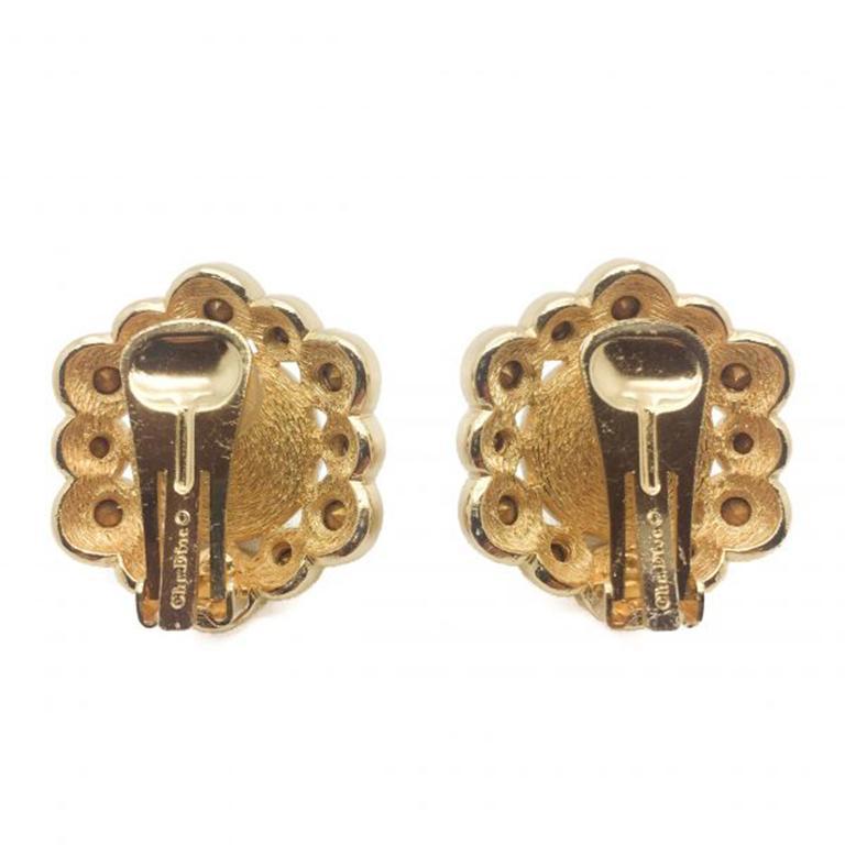 Women's Dior Vintage Earrings Pearl Crystal Rhinestones 1990s For Sale