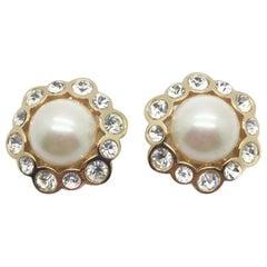 Dior Vintage Earrings Pearl Crystal Rhinestones 1990s