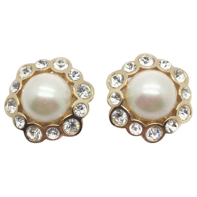 Dior Vintage Earrings Pearl Crystal Rhinestones 1990s For Sale