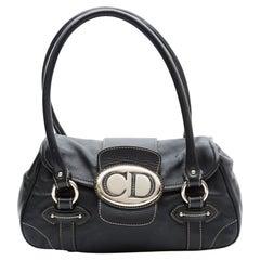 Dior Vintage Leather Black CD Flap Saddle Shoulder Bag