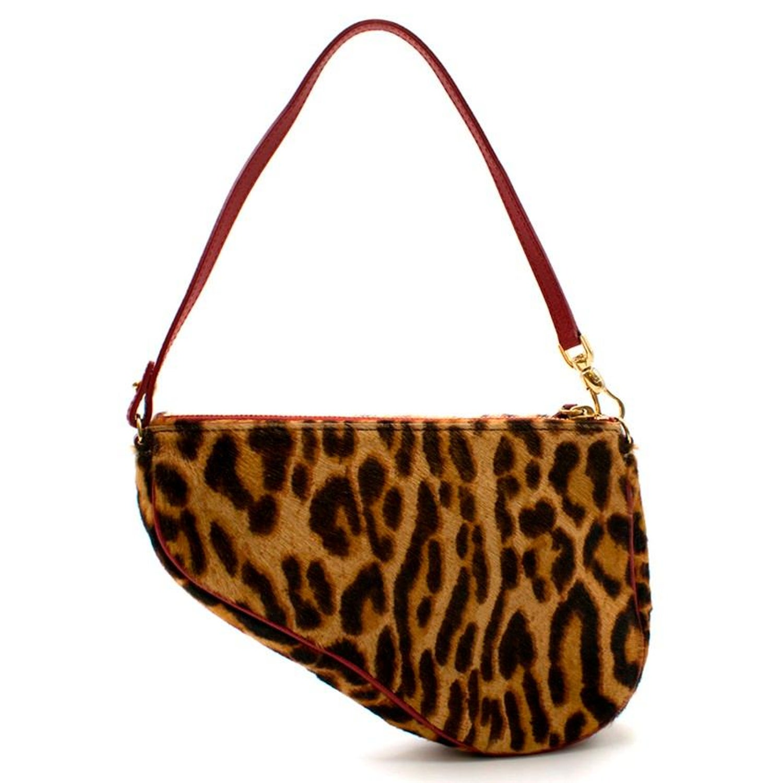358439cb2659 Dior Vintage Leopard Print Pony Hair Saddle Bag at 1stdibs