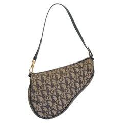 Dior Vintage Navy Oblique Mini Saddle Bag 2001