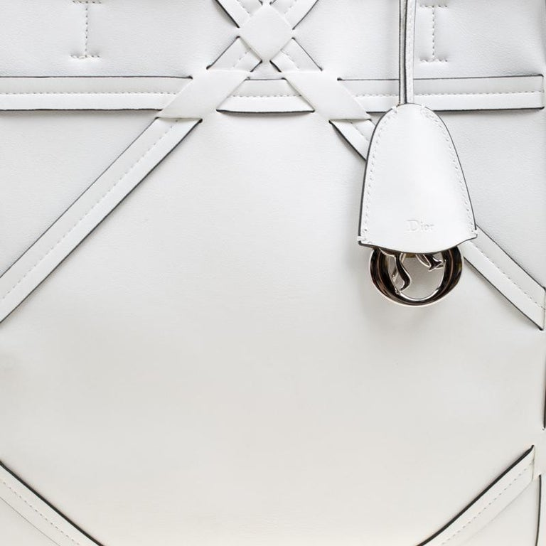 Dior White Cannage Detail Leather Shopper Tote with Pouch For Sale 6
