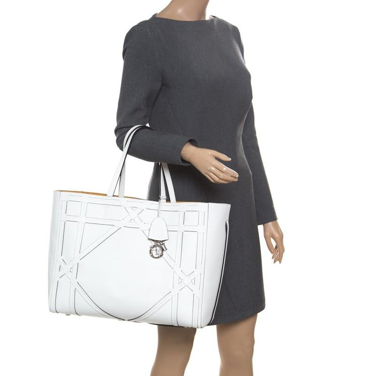 Gray Dior White Cannage Detail Leather Shopper Tote with Pouch For Sale