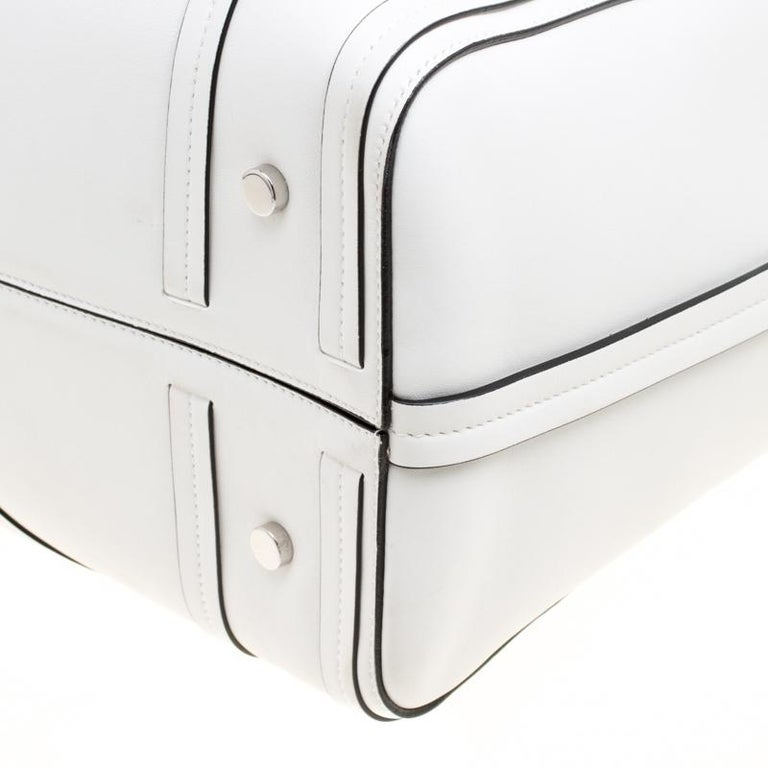 Dior White Cannage Detail Leather Shopper Tote with Pouch For Sale 2