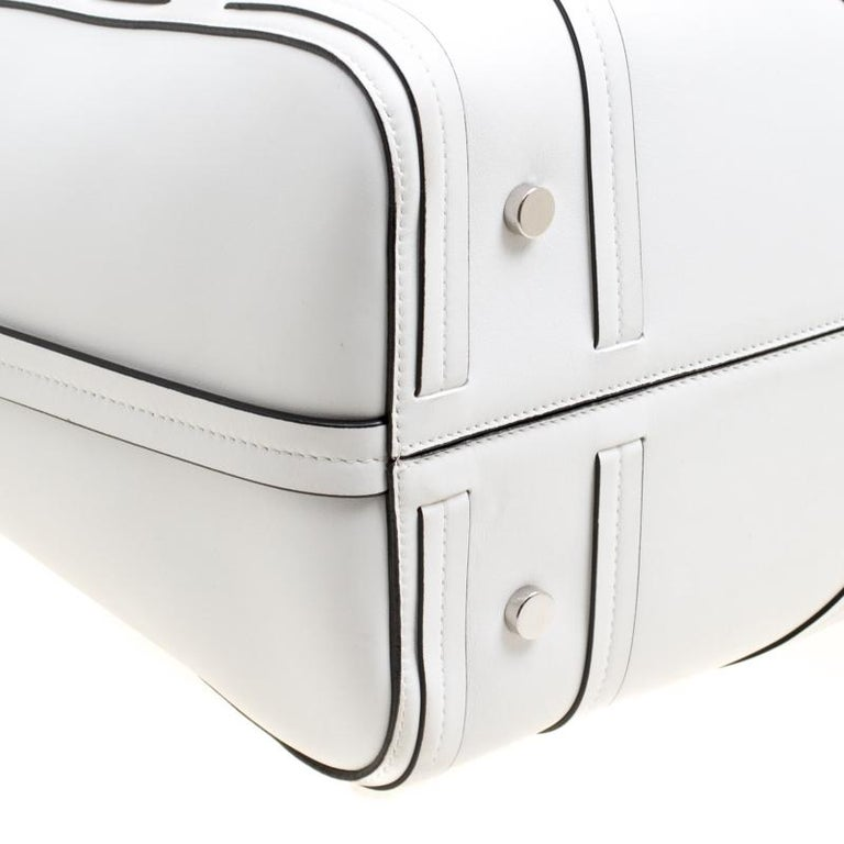 Dior White Cannage Detail Leather Shopper Tote with Pouch For Sale 3