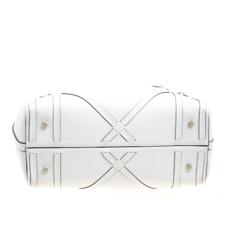 Dior White Cannage Detail Leather Shopper Tote with Pouch For Sale 4