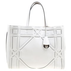Dior White Cannage Detail Leather Shopper Tote with Pouch