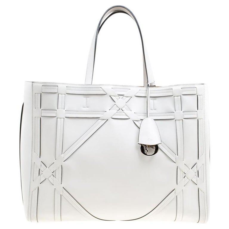 Dior White Cannage Detail Leather Shopper Tote with Pouch For Sale