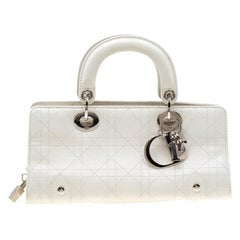 Dior White Cannage Leather East West Lady Dior Tote