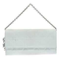 Dior White Cannage Leather Lady Dior Clutch