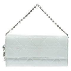 Dior White Cannage Leather Lady Dior Clutch